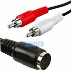 5 PIN DIN FEMALE SOCKET to 2 x RCA PHONO MALE PLUGS AMP AUDIO ADAPTER CABLE 20cm