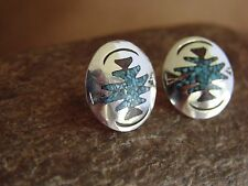 Navajo Indian Jewelry Sterling Silver Turquoise Chip Inlay Earrings!
