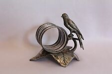 WONDERFUL ANTIQUE MERIDEN CO. BIRD ON LEAF SILVERPLATE NAPKIN RING HOLDER #202