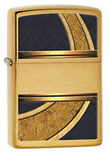 "Zippo ""Gold & Black Design"" Brushed Brass Lighter, ***Flints & Wick***    28673"