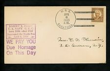 US Naval Ship Cover USS Saratoga CV-3 Pre WWII 1935 Carrier Peary Polar Arctic