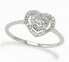 Great Value! 10K White Gold Heart Shaped Diamond Ring .04ct
