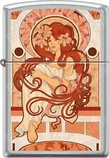 Zippo Nouveau Woman With Red Long Hair Alphonse Mucha Style Satin Chrome Lighter