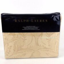 RALPH LAUREN QUEEN DUVET COVER Fleur Du Roi Paisley Gold Tan Cotton NEW