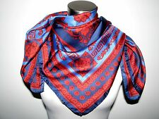 "NWT VERSACE 100% SILK SQUARE 35""X35"" NAVY, RED&BLUE SCARF made in Italy"