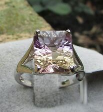 5.30 cts Genuine Anahi Ametrine Solitaire Size 7 Ring in 925 Sterling Silver
