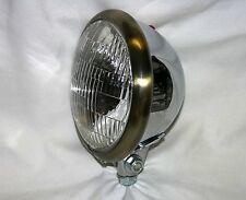 "Chrome Plated 5-3/4"" Headlight with Antique Brass Trim Ring; Chopper, Bobber"