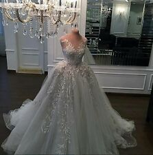 Sheer Tulle Applique A Line Luxury Wedding Dress Custom Made Bridal Gown Long