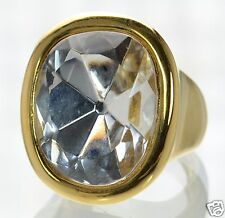 Kenneth Jay Lane Polished Gold Crystal Cocktail Ring Sz.- 7.5