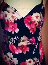 ��Black Pink White Floral Satin Midi Dress Flowers UK 14 EU 42 US 10 China XL��