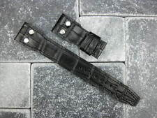 22mm Black Leather Strap Watch Band with Rivet IWC BIG PILOT Button Short S Size