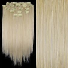 "SS1 22"" #60 Lightest Blonde Straight Full Head Clip In Synthetic Hair Extensions"