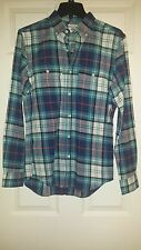 Old Navy Mens Long Sleeve Slim Fit Green Plaid Flanne Shirt Sz S NWT 100% Cotton