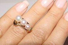 Authentic MIKIMOTO 14K Yellow Gold 3 Pearl Cluster Ring Band Sz 5 Pouch Vintage