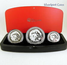 2012 YEAR OF THE DRAGON THREE COIN LUNAR Proof Silver Coin Set