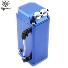 750ml Universal Aluminum Engine Oil Catch Reservoir Breather Tank Can Kit Blue