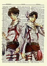 Eren Levi Attack On Titan Anime Dictionary Art Print Poster Picture Manga Book