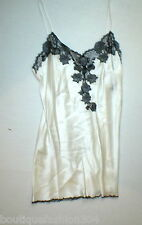NWT New Designer Josie Natori Night Gown Chemise White Black L Silk Lace Womens