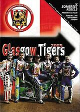 Speedway Programme GLASGOW TIGERS v SOMERSET REBELS Sept 2003