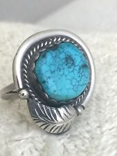 Vintage Sterling Silver Southwest Tribal Ring Turquoise Size 7 5.4g feather leav