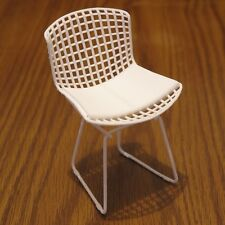 "Bertoia Side Chair miniature 3D printed - white plastic 3.9"" tall"