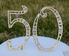 "5"" Rhinestone Gold Golden Number fifty 50 Bling Cake Topper Birthday Anniversary"