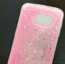 For Samsung Galaxy S6 - HARD TPU GUMMY RUBBER SKIN CASE COVER PINK GLITTER STARS