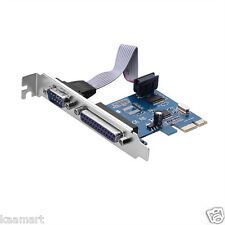 Combo 1 X RS232 Com Port + 1 DB25 Parallel Printer Port LPT PCI-E x1 Card