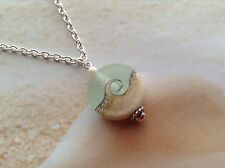 NAUTICAL OCEAN WAVE ETCHED GLASS BEAD NECKLACE BEACH PENDANT JEWELLERY