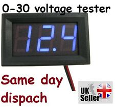 DC 0-30V Wire LED 3-Digital Display Voltage Voltmeter Accurate Panel Blue UK