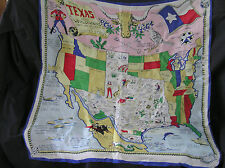 "Beautiful Vintage Texas Scarf, 28"" Sq, Made in Japan, Whimsical!"
