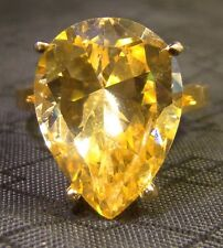 Nice Gold Over Sterling Silver Large Yellow Pear CZ Stone Size 8.5 Ring