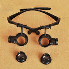 10X 20X 25X LED Double Eye Jeweler Watch Repair Magnifier Glasses Loupe Lens TS