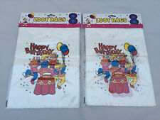 MULTI-COLOR HAPPY BIRTHDAY PARTY GOODIE BAGS  LOOT GIFT BAG - PLASTIC PACK OF 16
