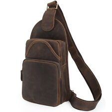 Men's Vintage Genuine Leather Single Strap Shoulder Bag Sling Bag Chest Backpack