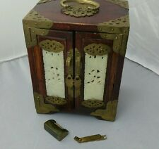 Chinese Jewellery Box/Chest Wood With Brass And Jade