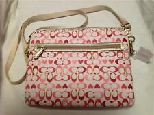 COACH TABLET CASE BAG PEYTON SIGNATURE HEART CROSSBODY PINK RED 63678 NEW