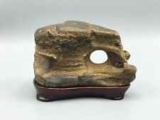 Natural polished Viewing stone suiseki-amazing textured lucky hole rough