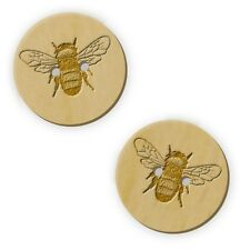 12 x 23mm 'Bumble Bee' Round Wooden Buttons (BT00003277)