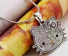 SUPER Sparkling Big Face *Hello Kitty* Silver CZ Party Pendant Necklace