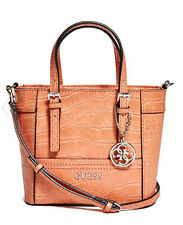 NWT Guess Delaney Crossbody mini Tote purse Handbag Crocodile embossed Orange