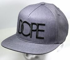 DOPE 3D Embroidered Logo Classic Snapback in Grey SCATER CAP HAT