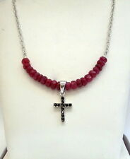FACETED RUBY BEAD NECKLACE WITH A SMALL CROSS STERLING SILVER RHODIUM PLATED