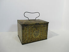 Tobacco Tin Lunch Box Patterson Seal Plug Cut Wire Handle Basket Design Vintage