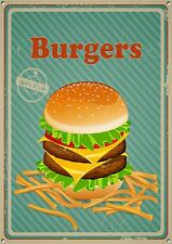 """Burgers"" Metal Sign, Diner, Kitchen, Food, Retro, Collectable, Enamel, No.364"