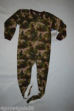 Boys Footed Sleeper ZIP UP FOOTIE PAJAMAS Soft Fleece GREEN CAMOUFLAGE 4