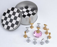 5Pcs Chess Board Magnetic Nail Art Tip Crystal Stand Set Salon Display Holder
