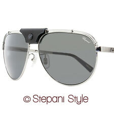 Chopard Aviator Sunglasses SCHA12M 568P Shiny Gunmetal/Black Polarized A12