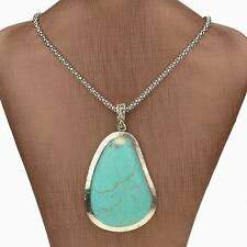 New Fashion Jewelry Simple Style Turquoise Pendant Silver Plated Chain Necklace