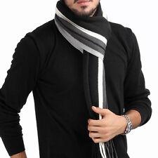 Men Classic Cashmere Scarf Winter Warm Soft Fringe Striped Tassel Shawl Wrap LO